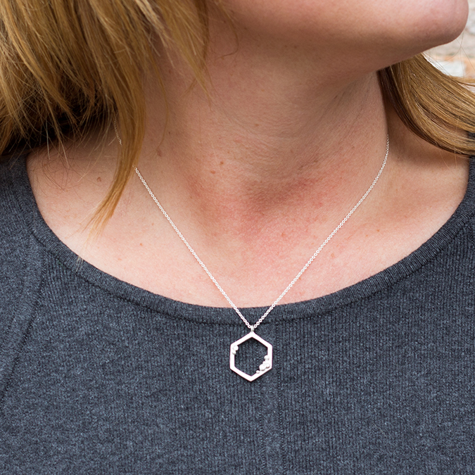 Hexagon Diamond Pendant Necklace