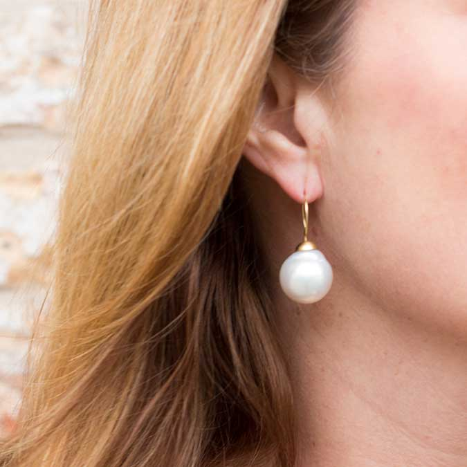Extra Large South Sea White Pearl Drop Earrings