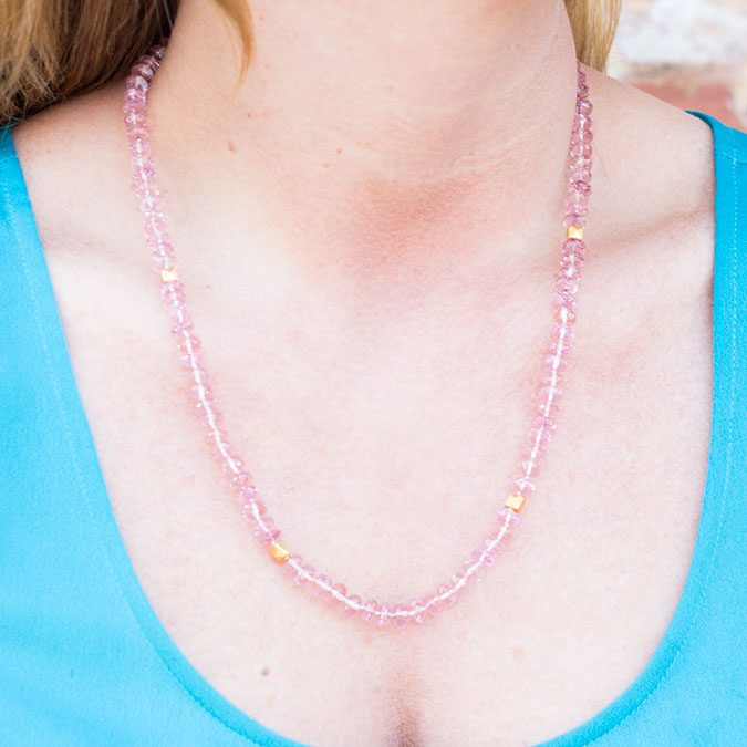 Pink Quartz Strand Necklace_44438_a