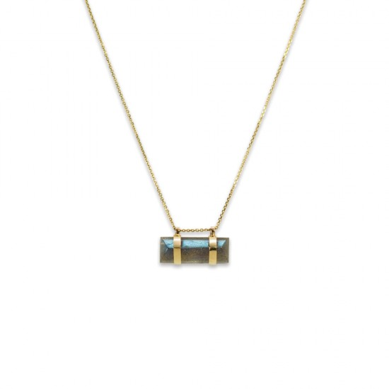 Horizontal Labradorite Bar Necklace