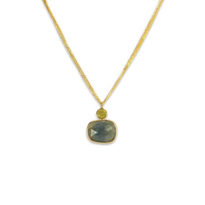 Blue Sapphire and Yellow Diamond Necklace