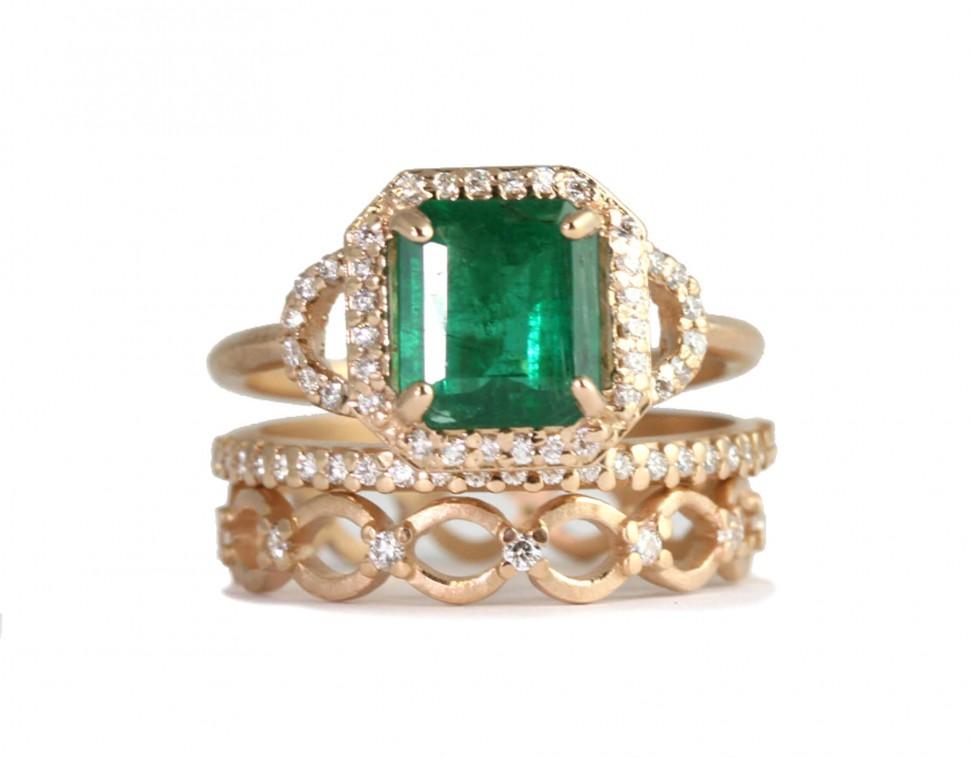 Custom Design Emerald Cushion Cut Ring