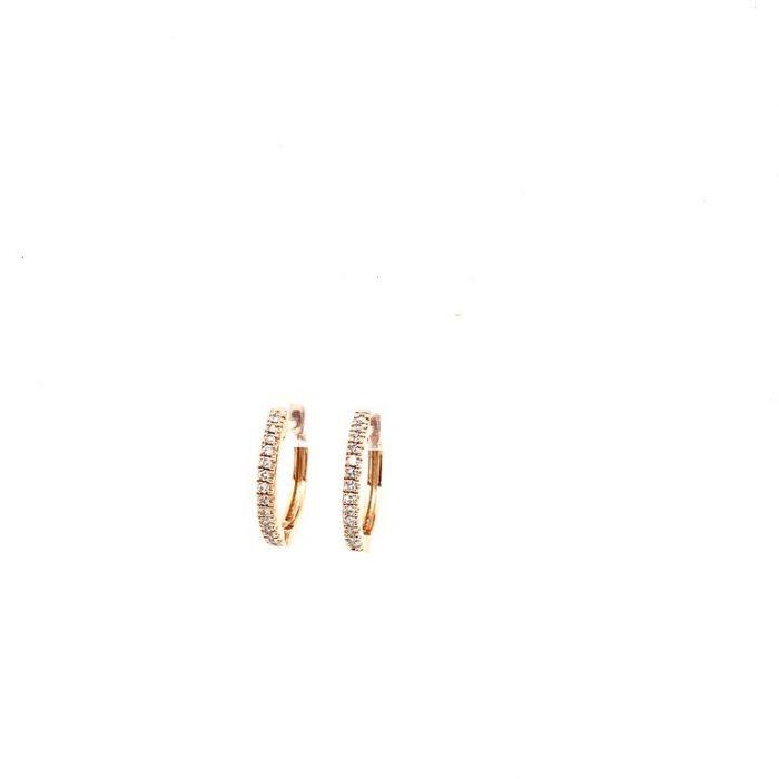 Small Diamond Huggies in Pink Gold