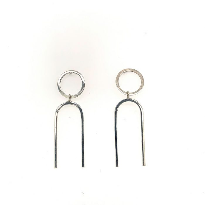 Sterling Elongated U Drop Hoops