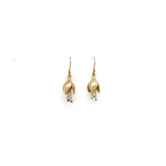 Allium Bud Drop Earrings with Keshi Pearl