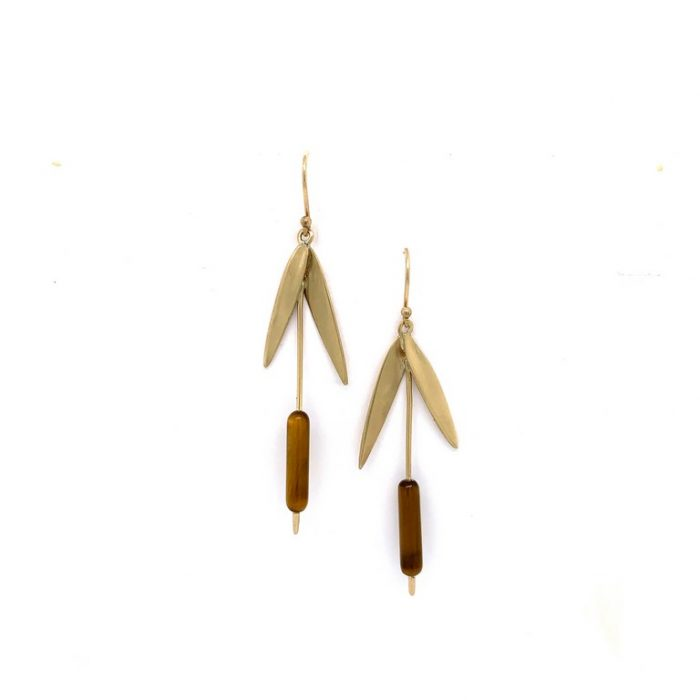 Cattail Earring with Tigers Eye