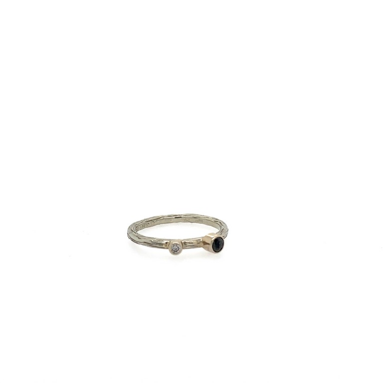Pebble Stack Ring with Black Diamond