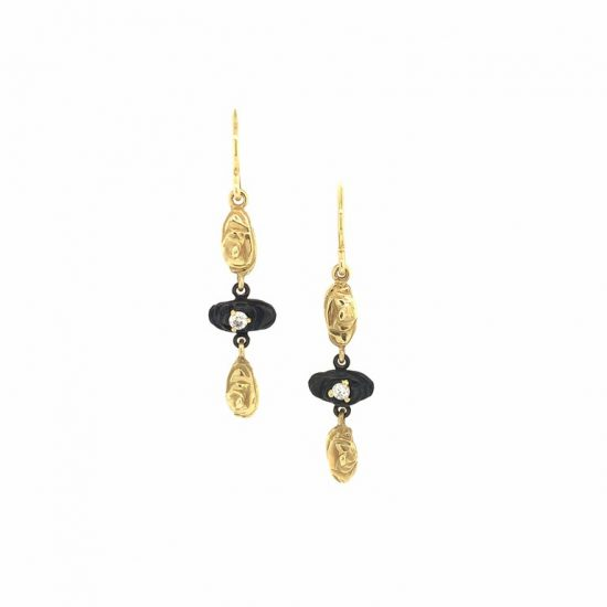 Triple Arches Earrings with Diamonds.