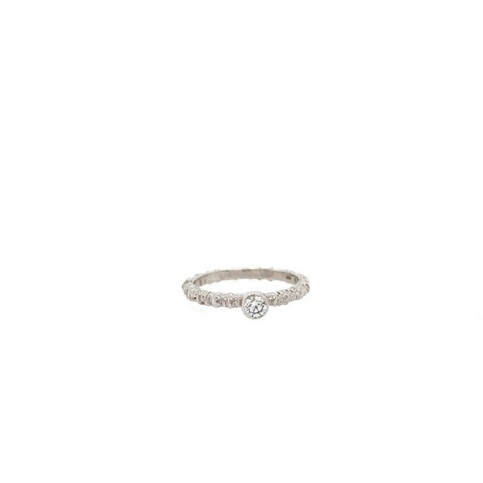 Aspen Stack Ring in White Gold with White Diamond.