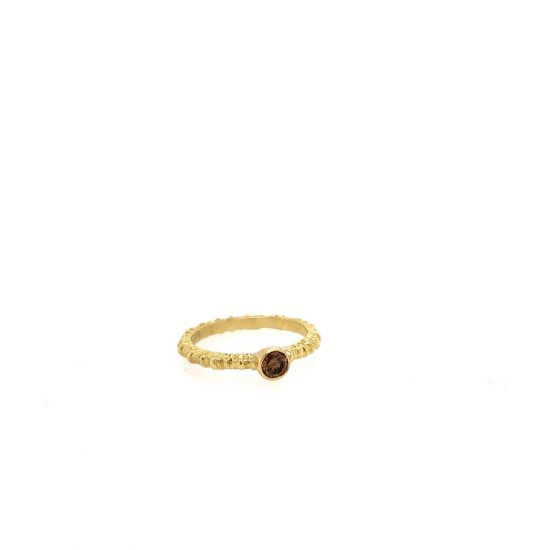Aspen Stack Ring in Yellow Gold with 1/4 Carat Cognac Diamond