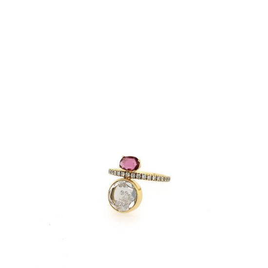 Garnet and Gold Diamond Shake Ring