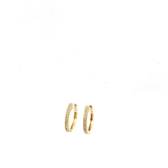 Small Diamond Hoop Huggies in Yellow gold