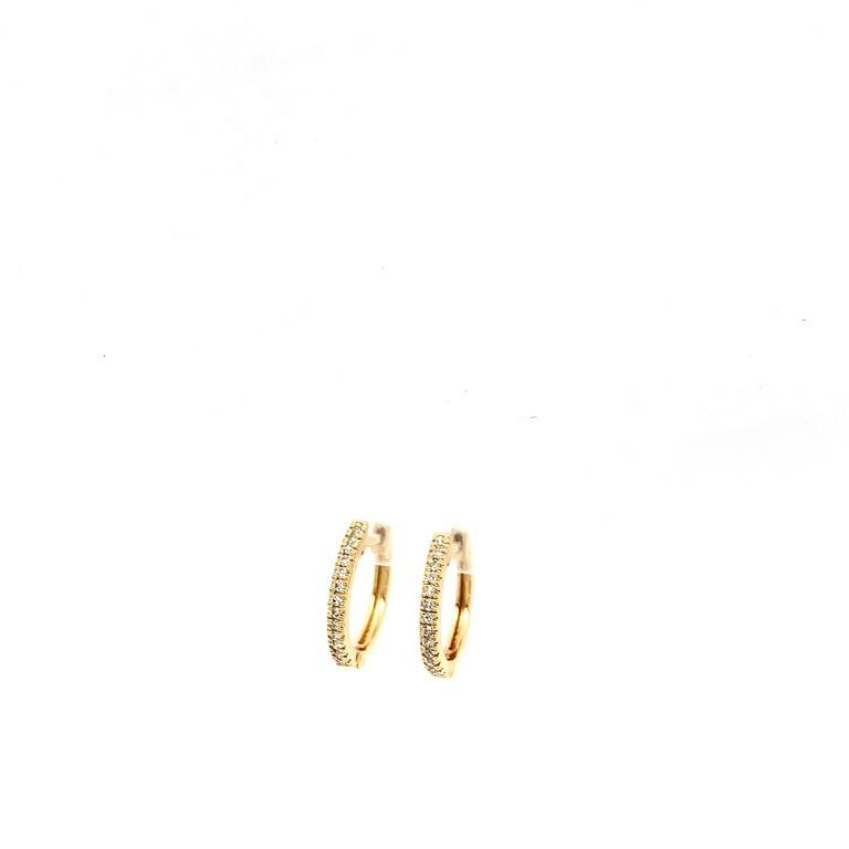 Small Diamond Hoop Huggies in Yellow gold