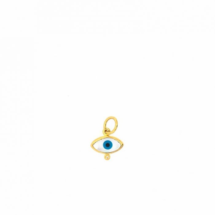 24K Gold Mother Of Pearl Evil Eye Charm with Diamond