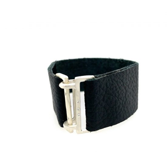 Leather 5 Diamond Cuff