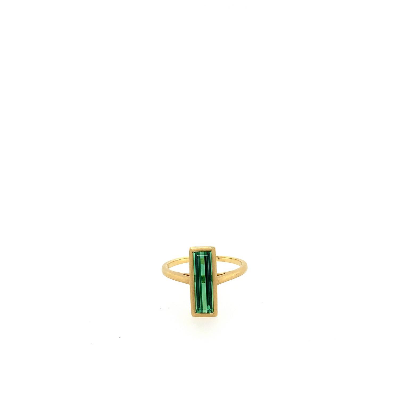 Green Tourmaline Rectangle Ring