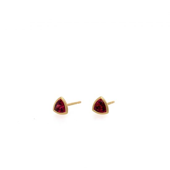 Red Rublite Studs in Gold