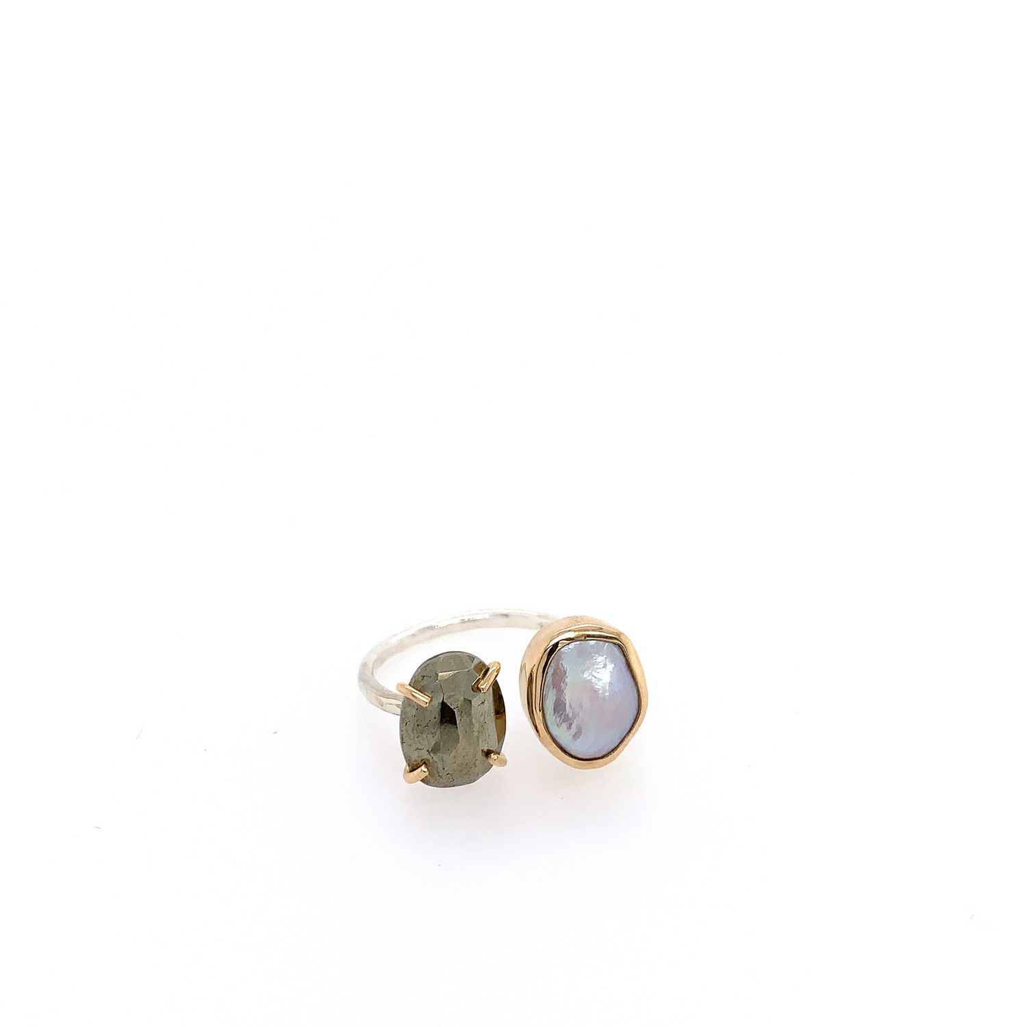 Sterling Open Faced Keshi and Pyrite Ring