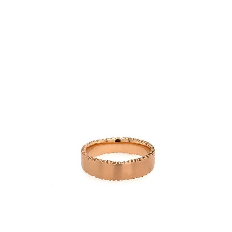 rose gold rough edge band ring