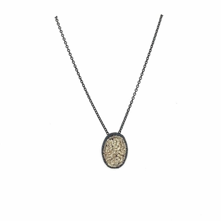 sparkler oval pendent necklace