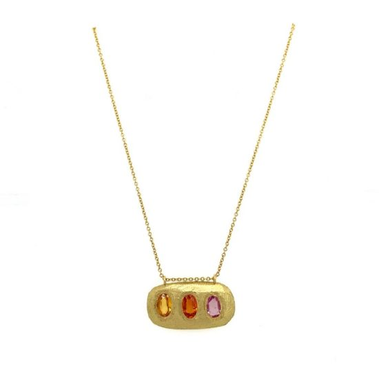 triple sapphire gold bar necklace