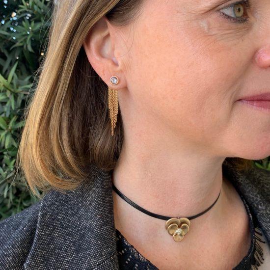 annette ferdinandesen necklace and fringe earrings on woman