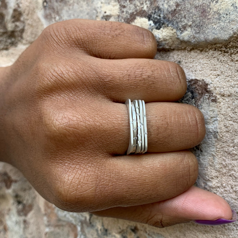 square 24 diamond stacker ring