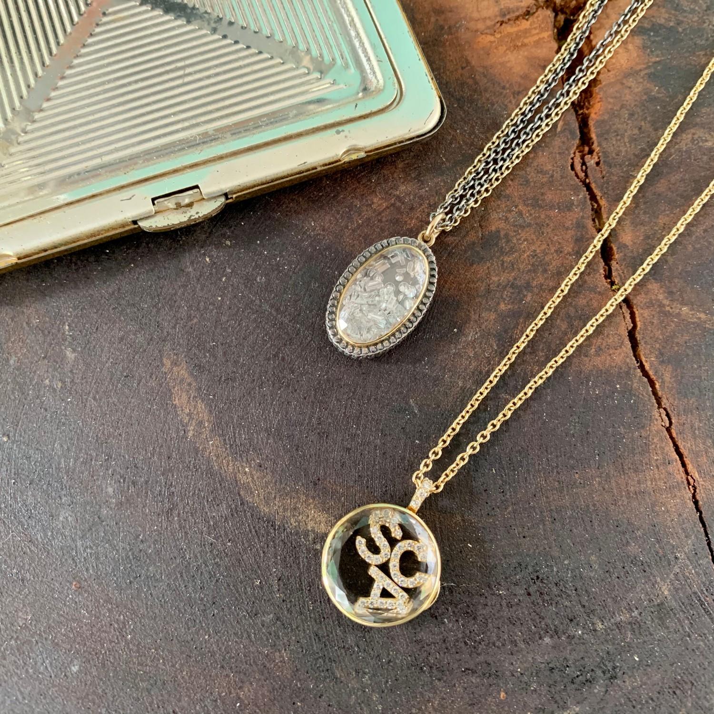 diamond letter locket gold necklace
