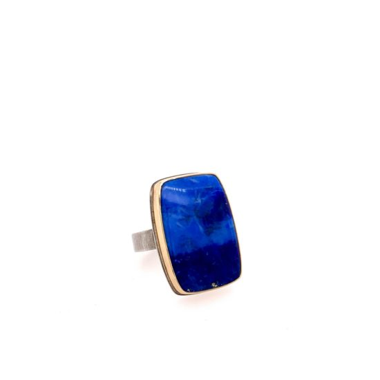 Sterling & Gold Rectangle Lapis Ring