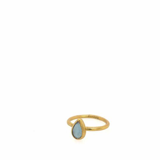 Aqua & Gold Teardrop Ring