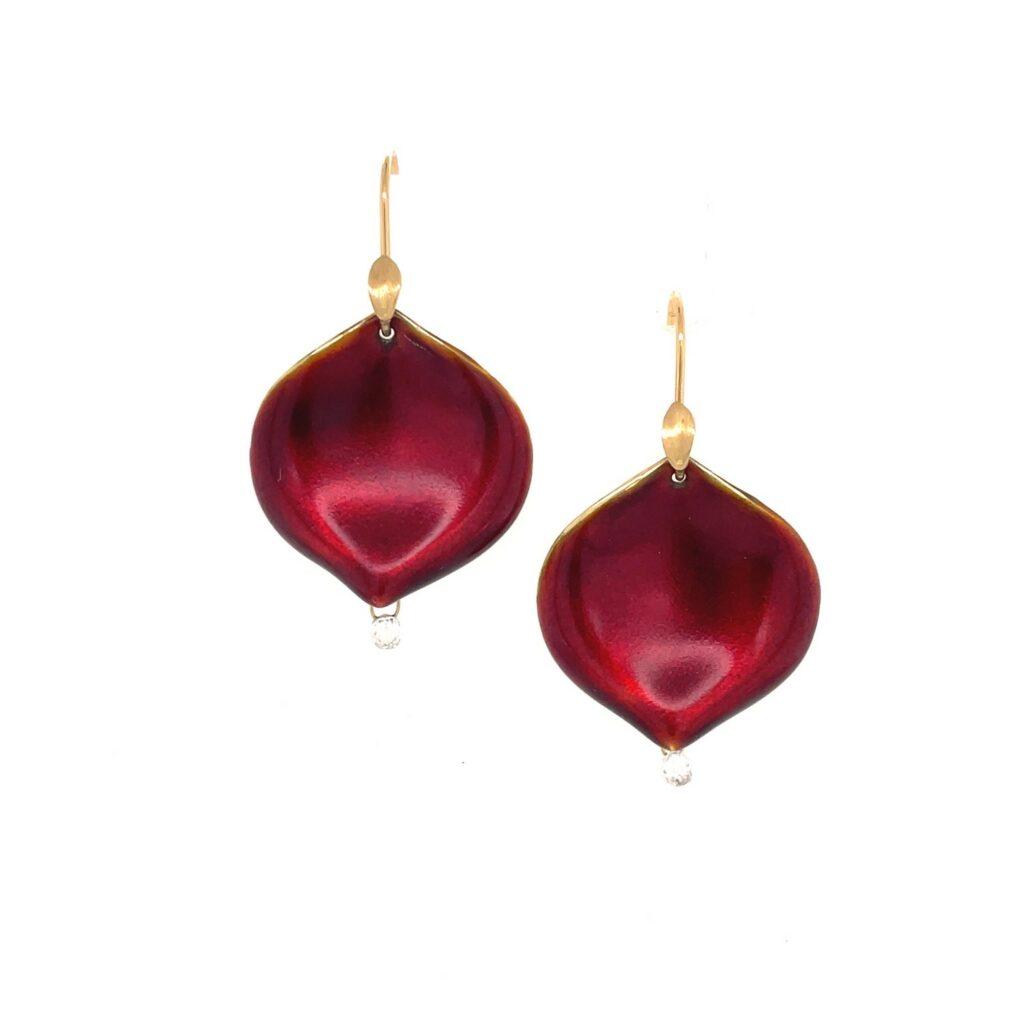 red enamel rose petal earring