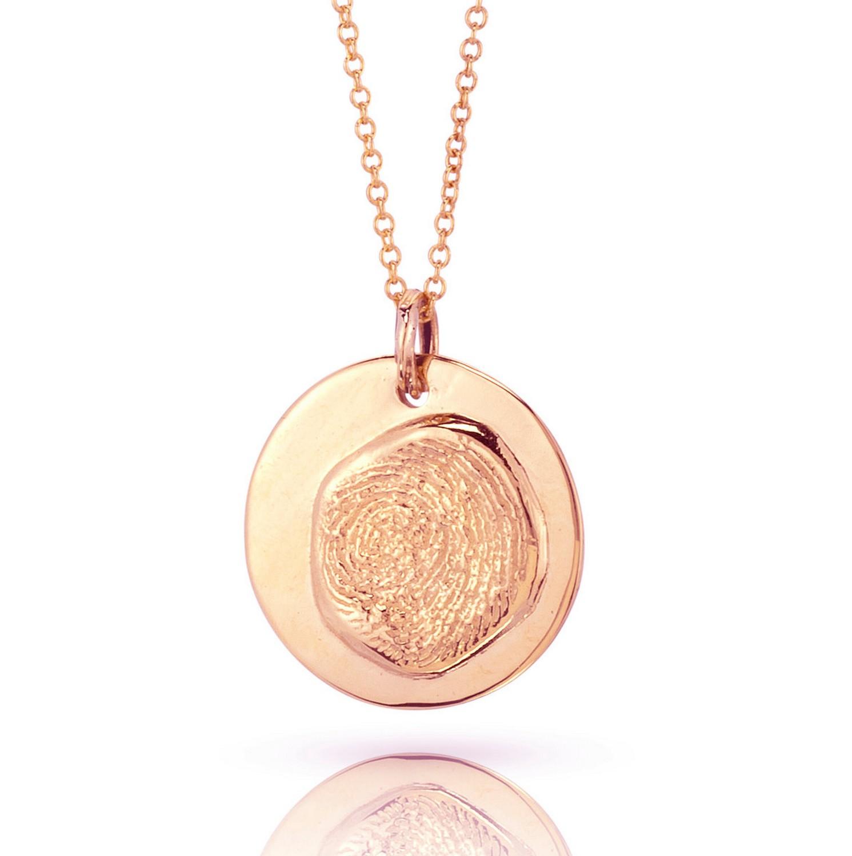 18K Gold fingerprint pendant on gold chain