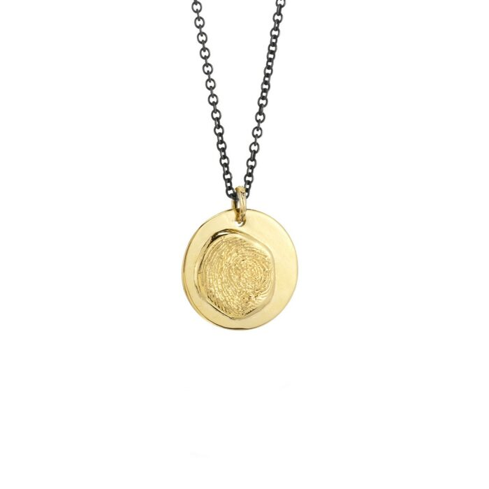 """Big Boy"" Large Round Fingerprint Charm on Chain Necklace"