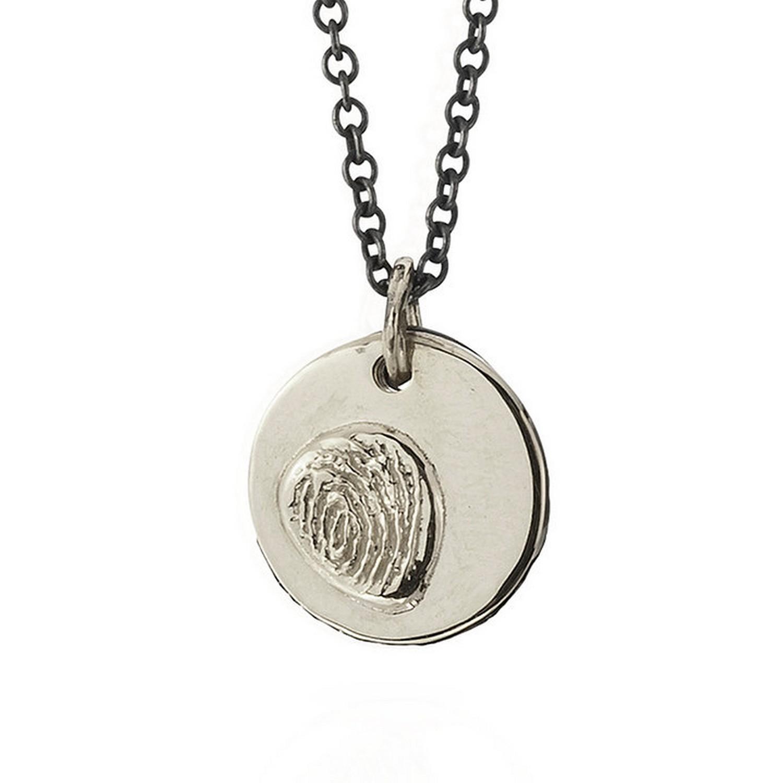 18K Gold fingerprint pendant on silver chain