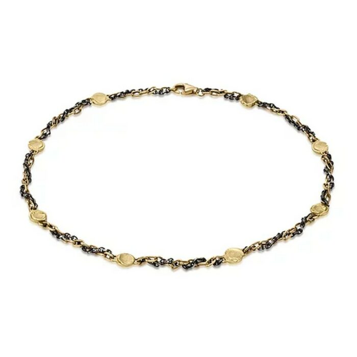 Fingerprint 16inch Necklace, 18 K gold and oxidized silver chain, eight 18 K gold stations
