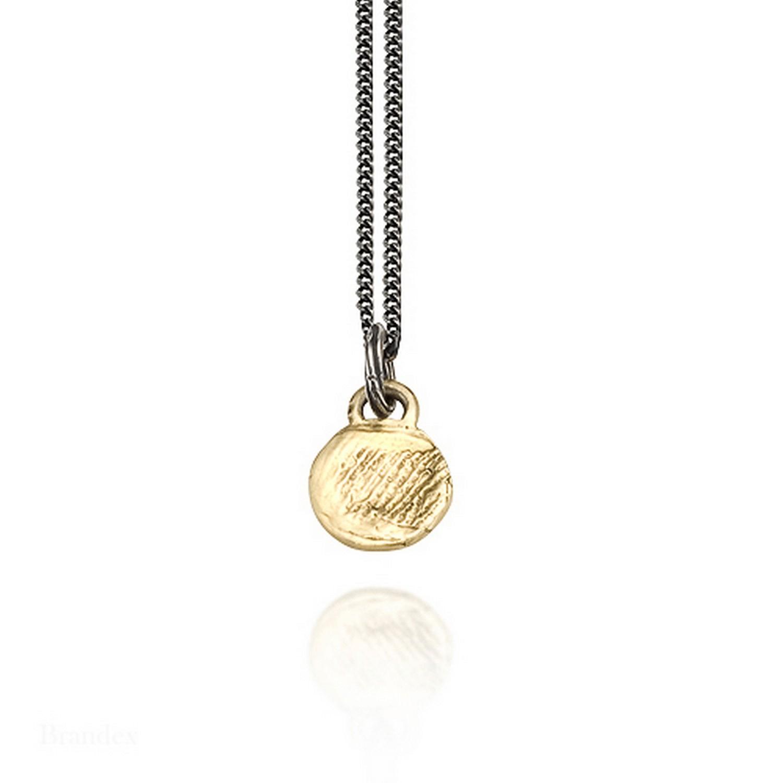 """""""Little Prints"""" Round Single Fingerprint Pendant Necklace on Chain"""