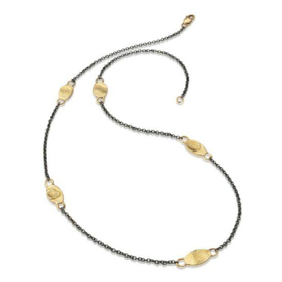 5 fingerprint station silver necklace