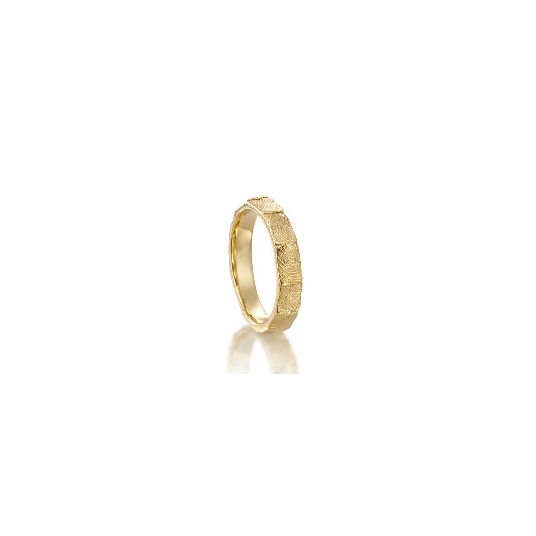 18K Gold fingereprint band ring