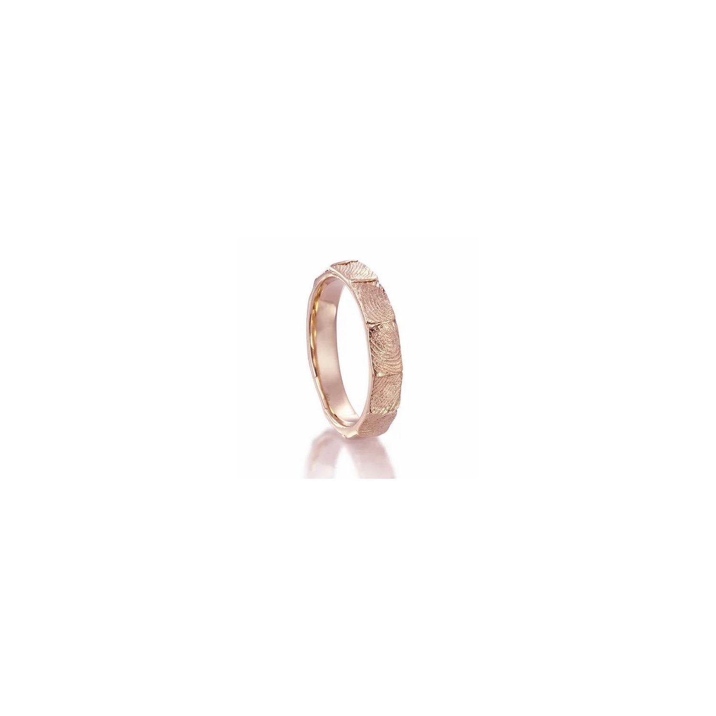18K Pink gold fingerprint wedding band
