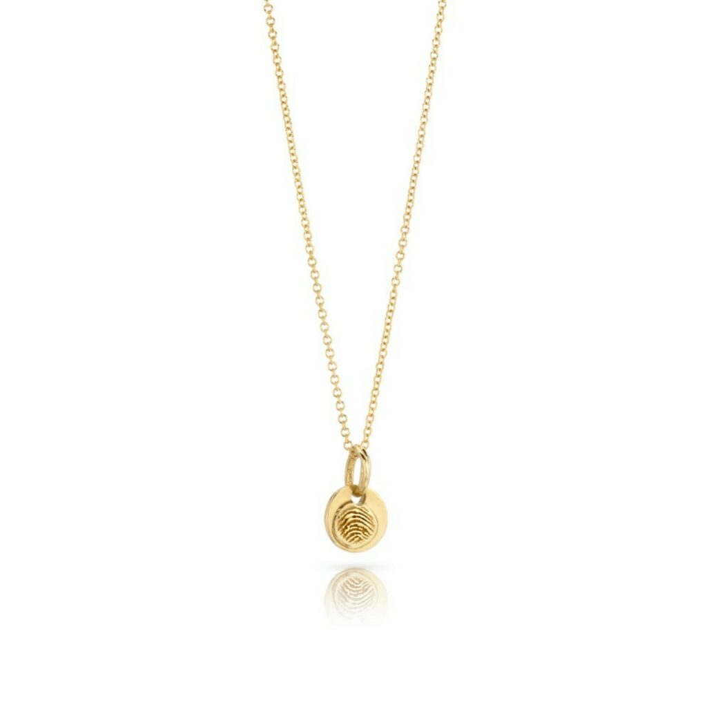 18K Gold Small fingerprint pendant necklace