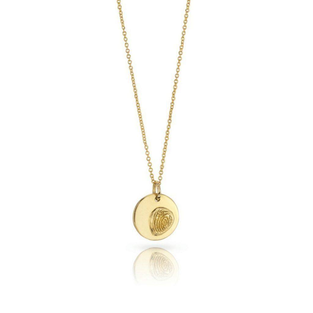 medium round 18K Gold fingerprint pendant