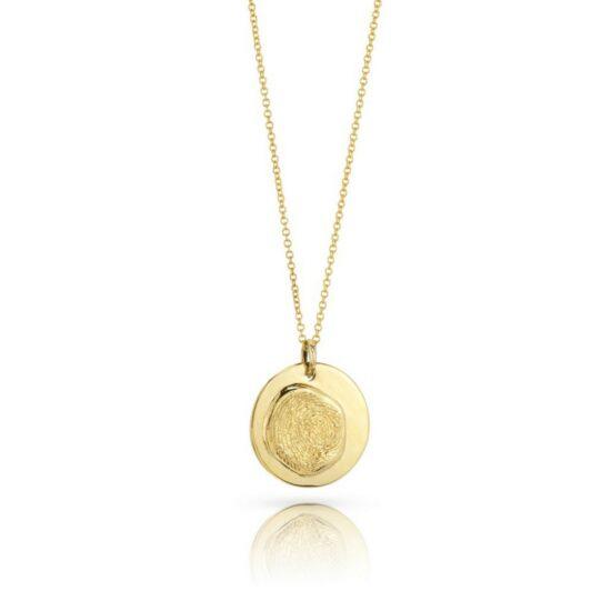 Large round 18K Gold fingerprint pendant