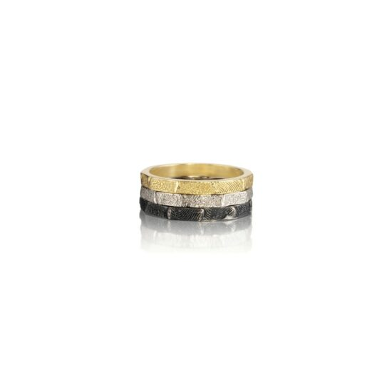 fingerprint staking rings in gold and cobalt chome