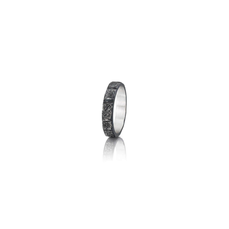 Cobalt chrome fingerprint wedding band
