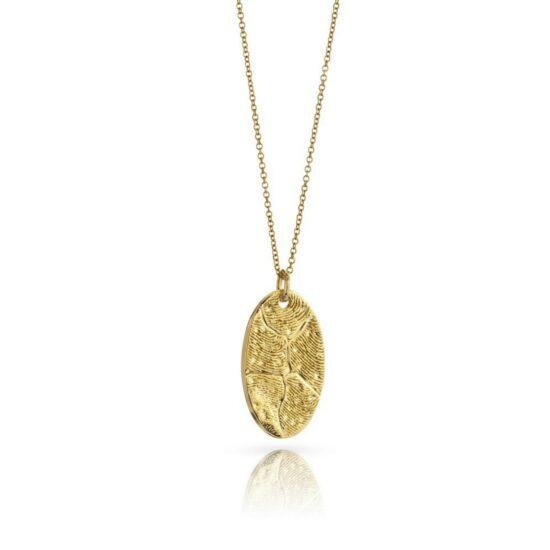 Oval 18K Gold fingerprint pendant