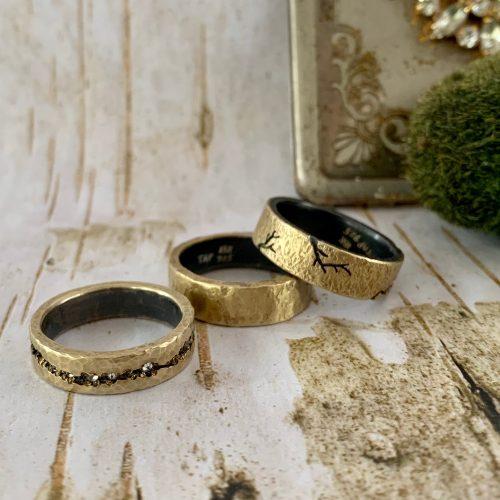 3 gold designer men's bands rings