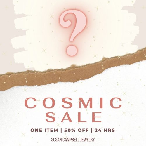 cosmic sale graphic with question mark